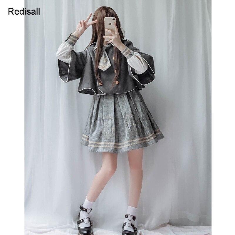 Lolita Dress Cape Girls Women Preppy Chic Pleated High Waist Dress Academic School Shirt Bear JK Uniform Set