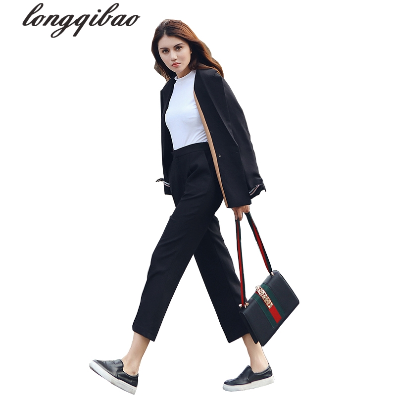 2017 Spring and autumn new women s fashion solid color leisure suit nine points trousers two - piece suit handsome women