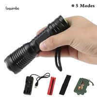 Coquimbo 5000 Lumens 5 Modes XML T6 LED Flashlight Zoomable Torch Tactical Flashlight Used 3 AAA
