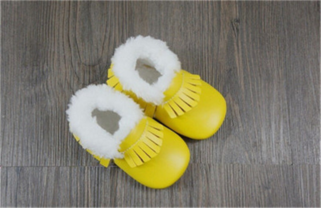 12 pairs/lot 2016 handmade microfiber soft bottom Leather warm winter first walkers fringe Toddler baby moccasins non-slip shoes