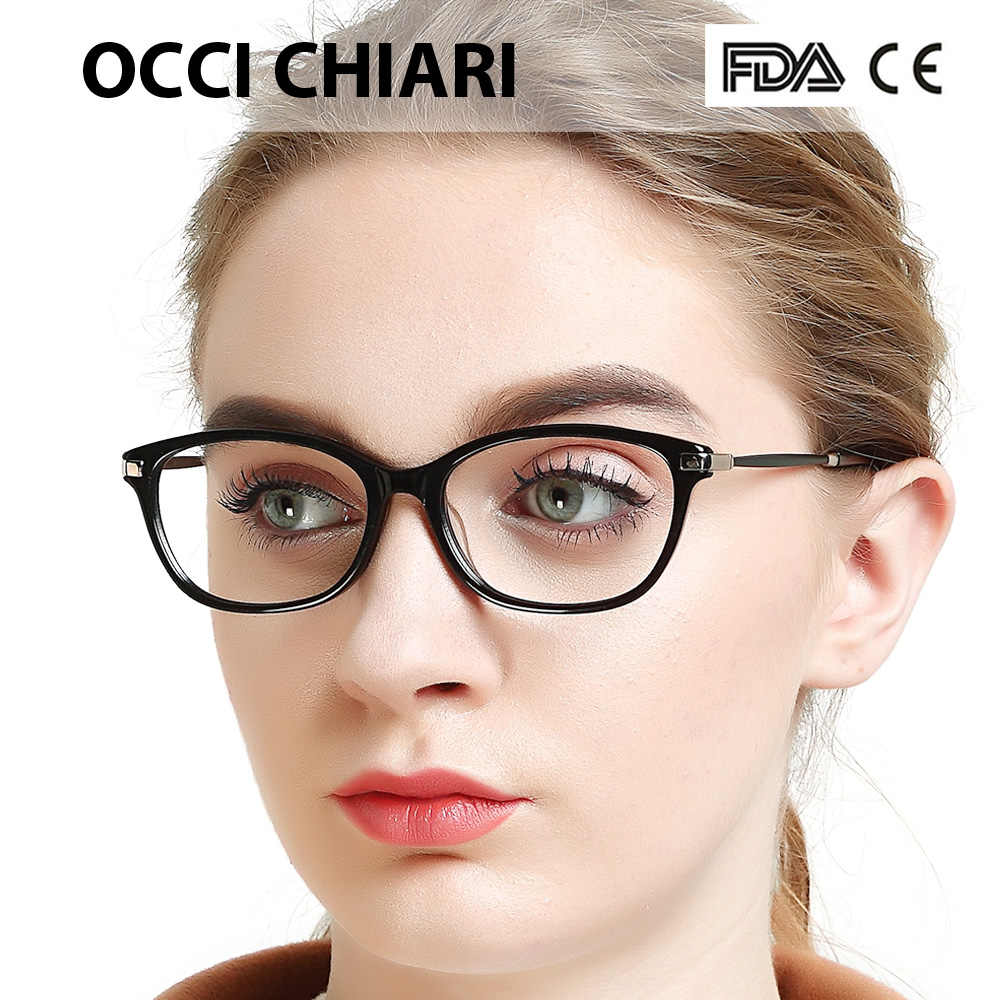 5b9b8cc4452a OCCI CHIARI Eyewear Myopia Gafas Women Eyeglasses Frame Acetate Spring  Hinge Spectacles Prescription Eyeglasses Red W