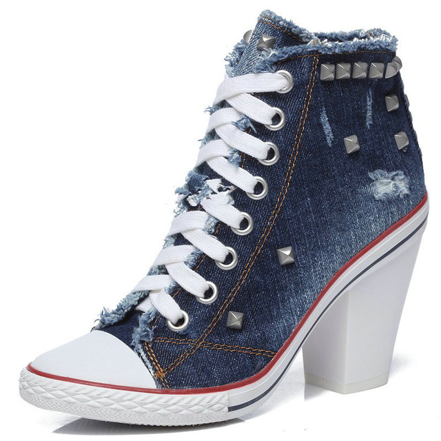 1a800887dd9140 European Rough With High-top Rivets High Heel Single Shoes Female Blue Denim  Canvas Handmade Casual High-heeled Shoes Female