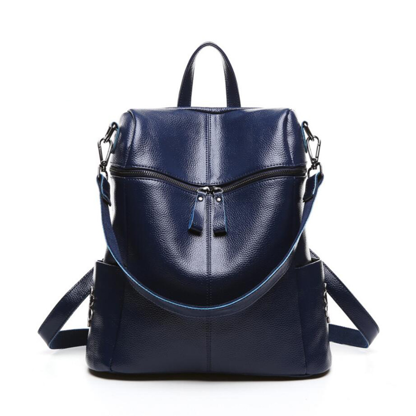 2016 High Quality Large Capacity Real Leather Backpack Women's Travel Bags Girls Preppy Style School Bag Women Fashion Backpack high quality pu leather backpack women large capacity travel portable shoulder bags girl preppy style school bag new backpacks