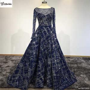 8b5842bb708d Arabic Evening Dresses Elegant Floor Length Evening Dresses 2016 Boat Neck  Long Sleeves Prom Party Gowns Dark Navy prom dress