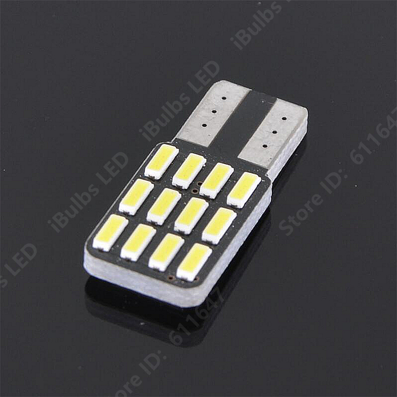 2PCS High Quality T10 W5W 12 LEDs 194 501 Auto 4014 SMD Car Interior lights No Electrode Wedge Door Instrument Side Bulb Lamp