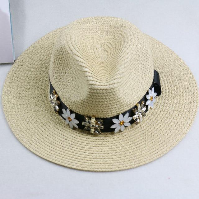 summer outdoor big sun hat women Leisure false straw hat fashion wide-brim jazz cap knight topi female costume crystal flowers