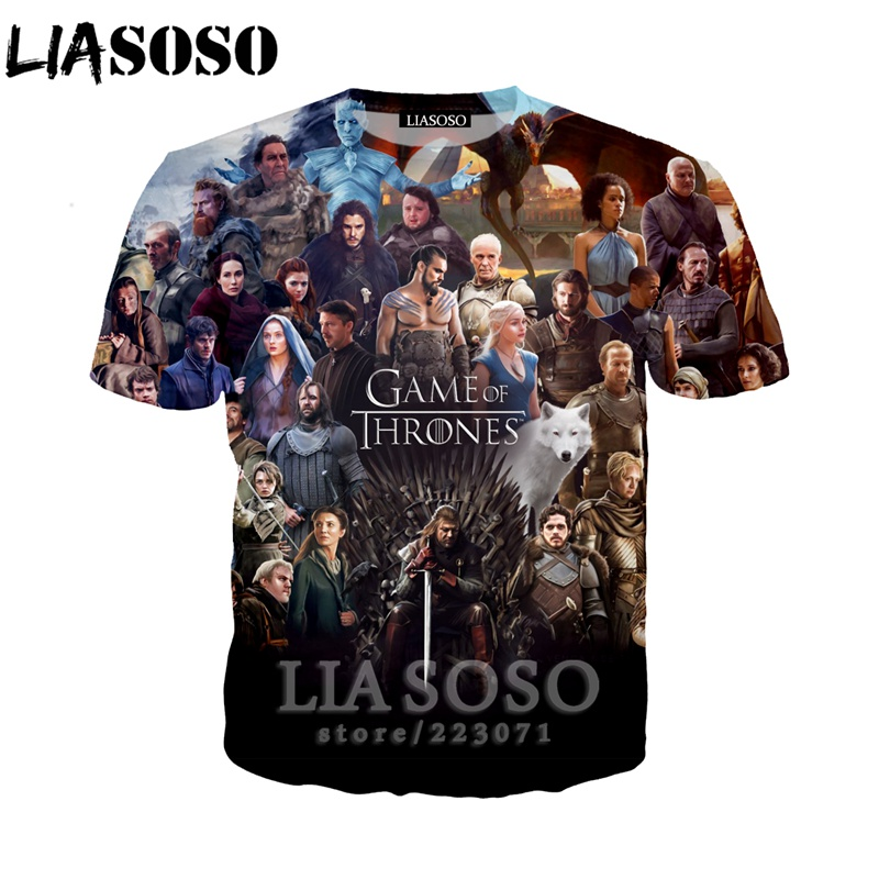 Behendig Liasoso Zomer Nieuwe Mode Mannen Vrouwen Sweatshirt 3d Print Tv Game Of Thrones T-shirt Korte Mouw Top Harajuku Trui A235