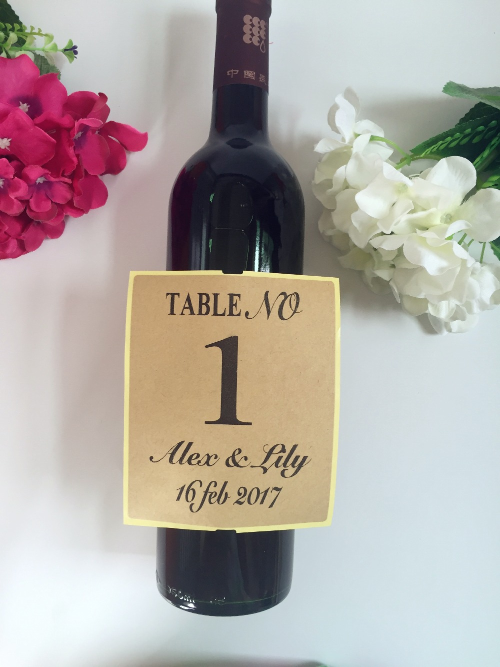 personalized wedding table numbers wine bottle label champagne