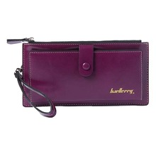 SCYL Baellerry Female Leather Hand Bag Fashion Wallets Women Coin Purses Wristlet Bags With Strap, Purple