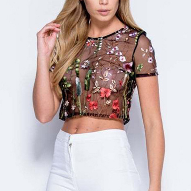 99662d5e5797f Flower Embroidered Mesh Blouse Summer Womens Sexy Transparent Short Tops  and Blouses Black Round Neck Short