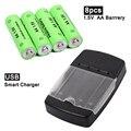 8 unids/lote recargable de baterías alcalinas de 1.5 v aa baterías recargables para cámaras juguetes de control remoto + cargador inteligente