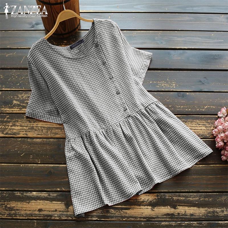 2019 ZANZEA Casual Check Tops Women's Summer Blouse Vintage Short Sleeve Shirts Female Button Chemise Blusas Femininas Plus Size