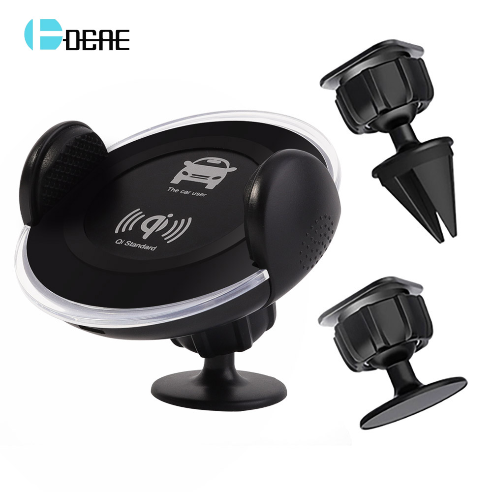 DCAE Car Qi Wireless Charger For iPhone X 8 Plus 360 Rotation Air Vent Phone Charger Holder For Samsung S9 S8 Xiaomi car charger
