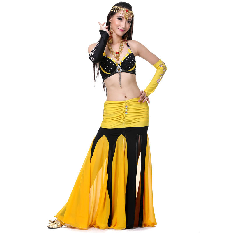 Costume de danse du ventre femme 4 pièces perlée soutien-gorge en mousseline de soie jupe longue robe de soirée tenues de danse du ventre Costumes orientaux faits à la main