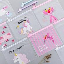 20 adet/grup Unicorn kalem kutusu sevimli şeffaf PVC pembe leopar kaktüs kalem çantası kırtasiye çantası hediye okul malzemeleri Zakka