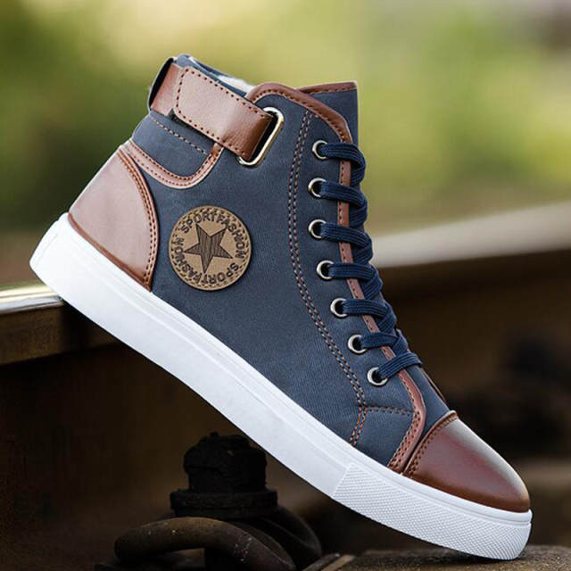 ac70169c1188 Online Shop Mens Designer Trainers High Top Men Shoes Canvas Men Casual  Shoes Autumn Winter Male Footwear Patchwork Plus Size 45 46 47