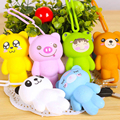New Silicone Car Key Holder Key Bag Holder Cute Gray Cat Bear Panda Pendant For Bag Man Keychain Cover
