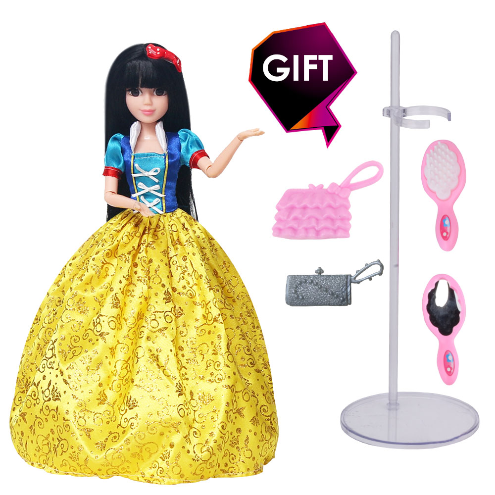 Sweet Princess Dolls Snow White Doll 3D Lifelike Eyes Long Thick Hair with Comb and Mirror Doll Accessories Best Gift for Girl