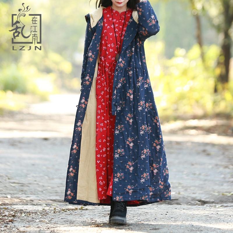 LZJN 2019 Autumn Hooded Jacket Women Long Trenchcoat Blue Floral Print Ladies Windbreaker Single Breasted Duster Coat Pocket