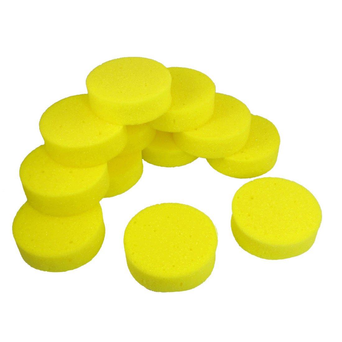 12 Pcs 3.9 Dia Yellow Round Car Wash Cleaning Polishing Sponge Pad