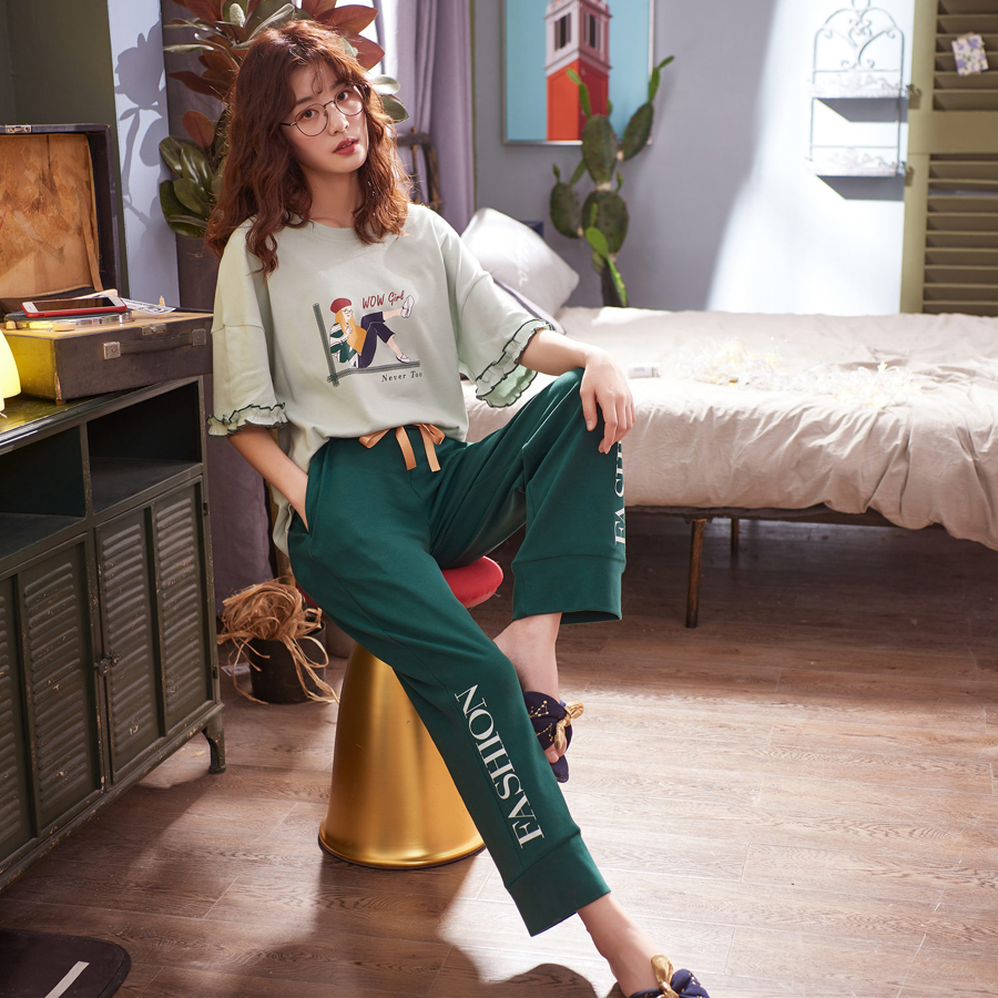 Women Cotton   Pajamas   Long Johns Summer Lounge Girl Casual   Pajama     Set   Woman Night Home Suit Ladies Pyjamas Long Pants Pijamas New