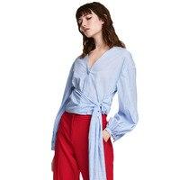 BENIM MAYAASOS 2017 Üç Renk Kadınlar Casual Gömlek Kemer Bel Çizgili Fener Kollu Kadın Zarif Tatlı Bluzlar Lady Tops