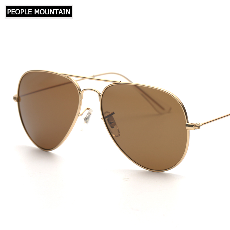 Brand Designer Top Quality Aviator Glass Lenses Sunglasses Men Women Brown G15 Gradient  ...