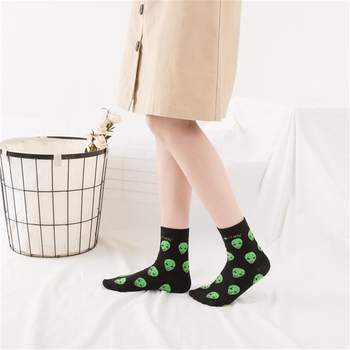 Nes Fashion Harajuku Women Short Socks Cotton Alien Cat Print Cute Socks Ladies Hip Hop Funny Socks Female Socks Mujer Meias Women Socks