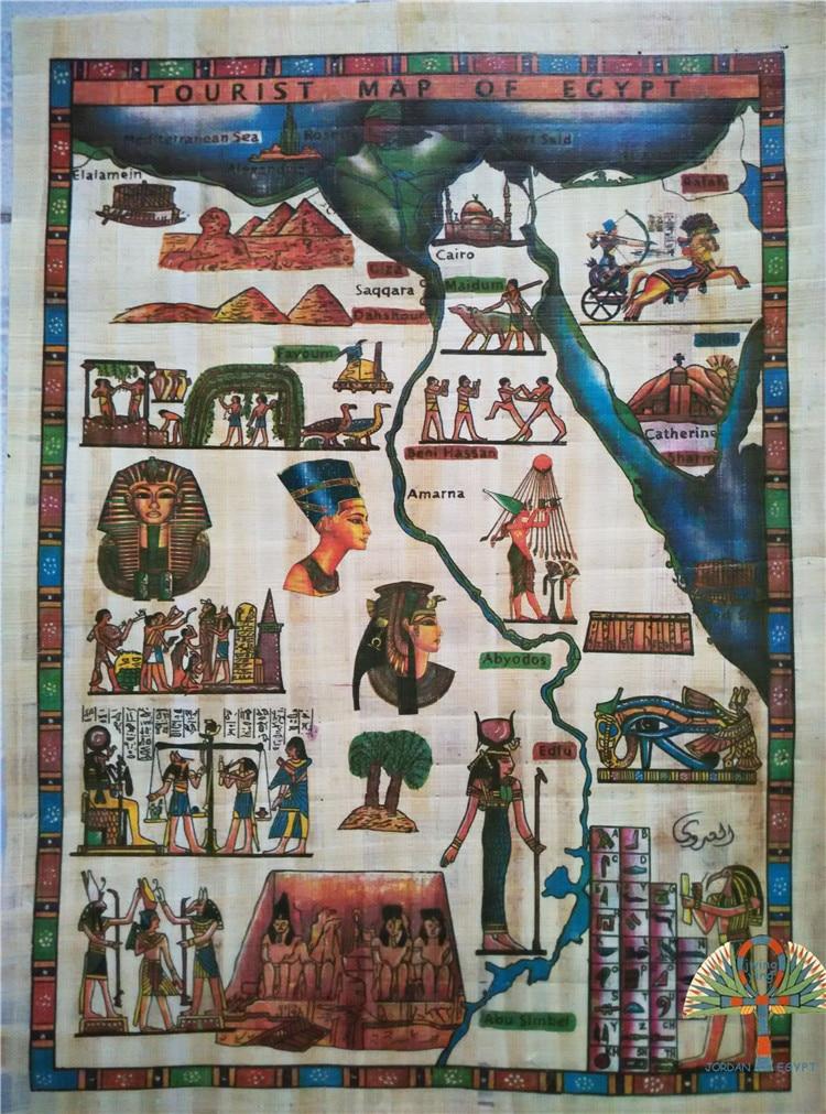Signé Carte De L Egypte Ancienne à La Main Art Peinture Sur