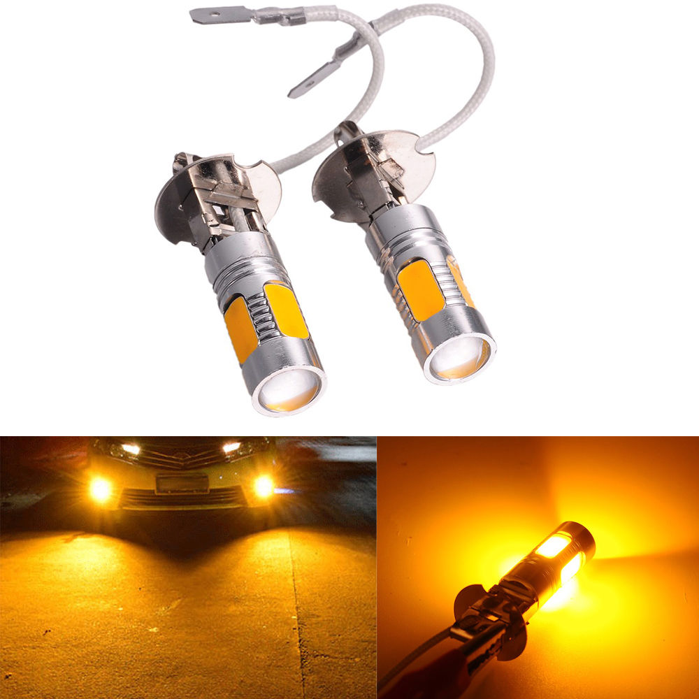 2pcs 33 Smd Yellow H3 7.5w 5730 Car Xenon Led Fog Driving Drl Bulb Light Lamps 12v Yellow Amber Headlight Light Sourcing Crease-Resistance Car Lights