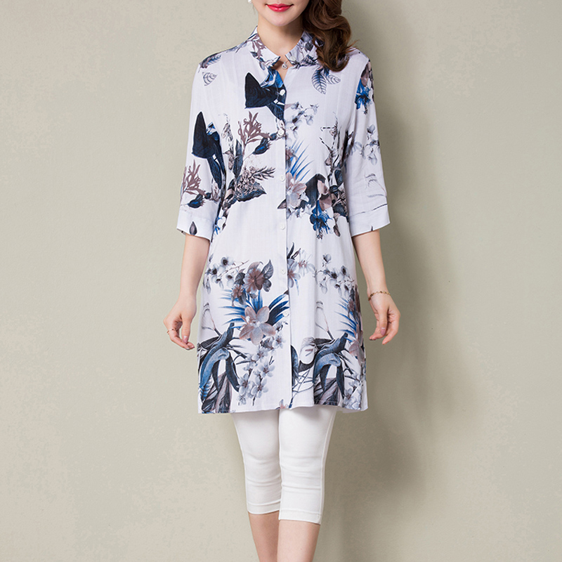 2018 New print summer and Autumn women long   blouses   ladies casual floral blusas feminina plus size   blouse     shirts