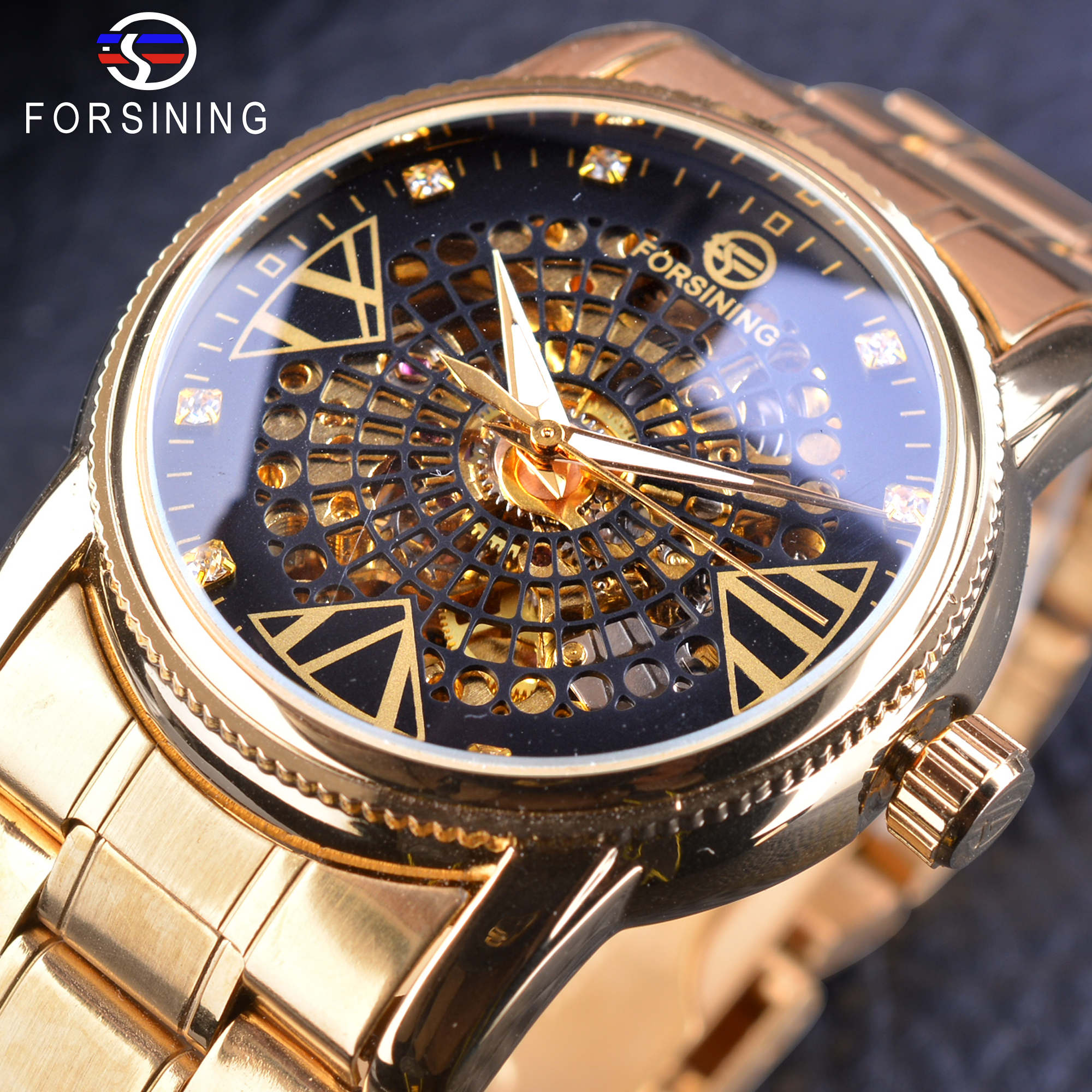 Forsining Mode Goldene Skeleton Diamant Display Männer Kreative Armbanduhr Top-marke Luxus Durchbrochene Mechanische Uhr Männliche Uhr