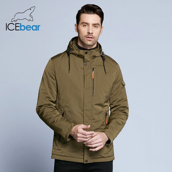 ICEbear 2018 Pocket Zipper Design Men Jacket Spring Autumn New Arrival Casual Fashion Parka Solid Thin Cotton Coat 17MC010D 1