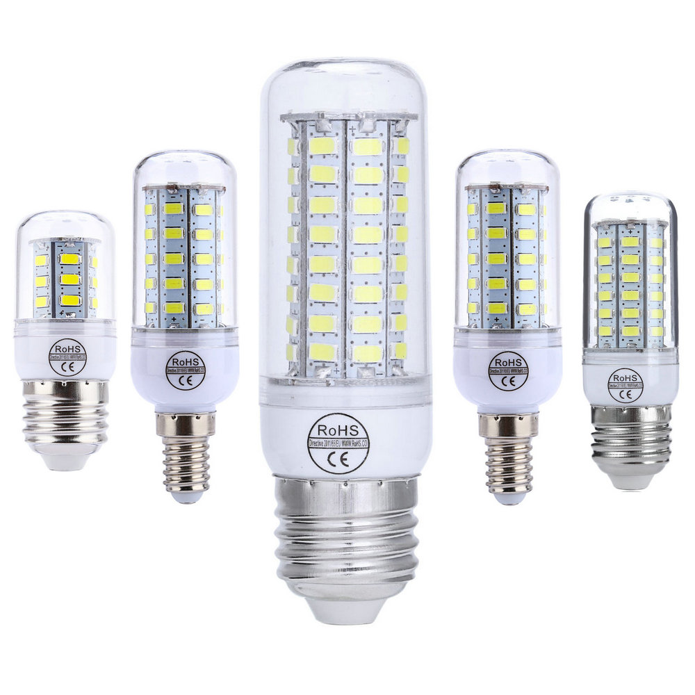 LED Lamp E27 E14 LED Bulb 220V Corn Bulb 24 48 56 72LEDs SMD5730 Chandelier Candle LED Light For Home Decoration Luminaria 5pcs g9 4w 320lm led candle bulb for chandelier