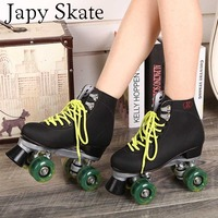 Double Roller Skates With Green Led Lighting Wheels Unisex 4 Wheels Flash Skates Two Line Adult Skating Shoes