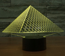 Free Shipping 1Piece 3D colorful rechargeable Pyramid Model LED Night Light of LED Mood Lamp For Children toys or Gifts