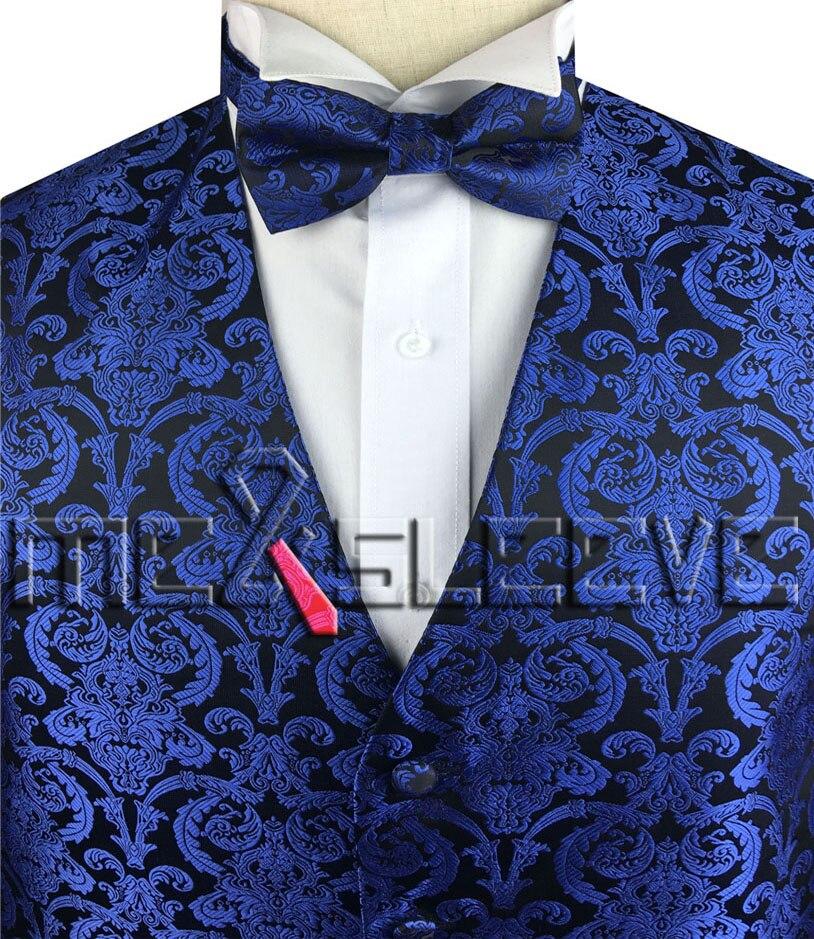 100% Kwaliteit Gratis Verzending Britse Stijl Diamant Blauw Paisey Vest (vest + Bowtie)
