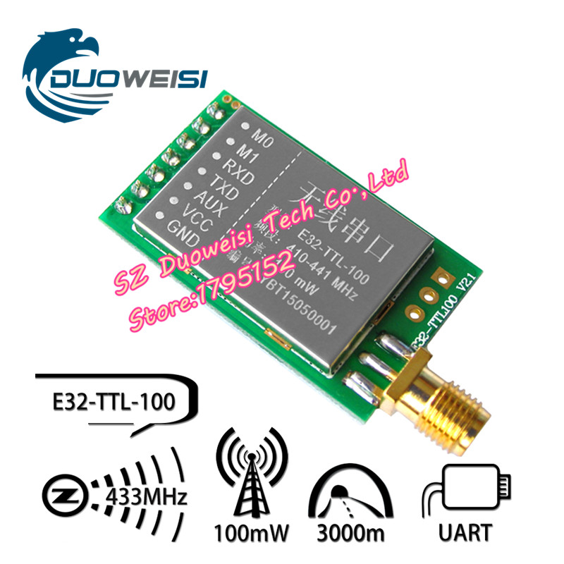 SX1278 / SX1276 wireless module 433MHZ wireless serial UART interface LORA spreading 3000 m E32-TTL-100 freeshipping uart serial port turn zigbee wireless module cc2530 module