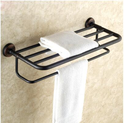 Antique  Fixed Bath Towel Holder Wall Mounted Towel Rack 60 cm Brass Towel Shelf Bathroom Accessories Brass Towel Rail whole brass blackend antique ceramic bath towel rack bathroom towel shelf bathroom towel holder antique black double towel shelf