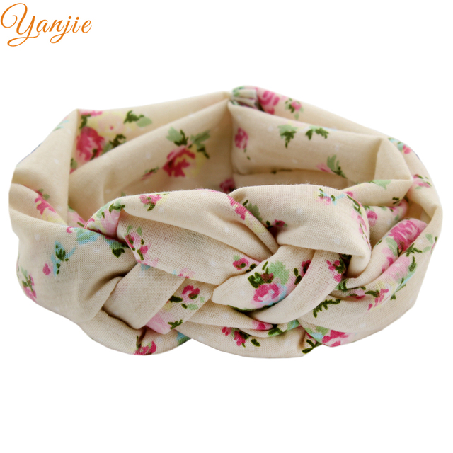1 PC 2019 Chic Summer/Spring Flower Cotton Knot Cross tie Elastic Headband DIY Hair Accessories For Kids Headwear Turban Women
