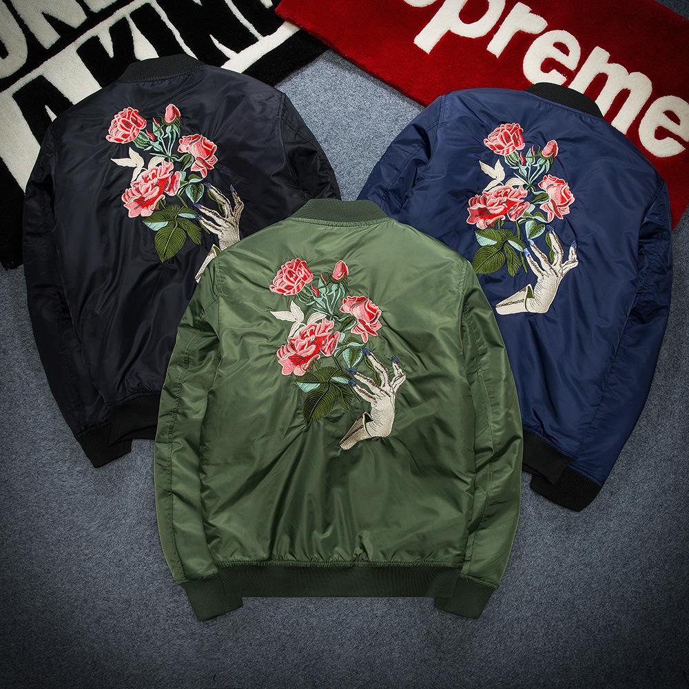 Nike jacket in chinese - 2017 New Autumn Ma1 Bomber Jacket Men Cotton Padded Rose Hand Embroidery Casual Long Sleeve Black