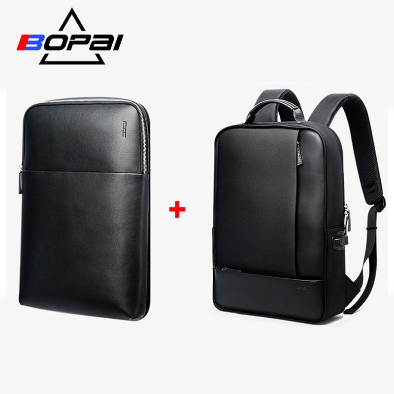 BOPAI Detachable 2 in 1 Backpack USB External Charge Laptop Backpack Shoulders Anti-theft Backpack Waterproof Backpack for Men bopai usb charge backpack men leather for travelling fashion cool school backpack bags for boys anti theft laptop backpack 2018