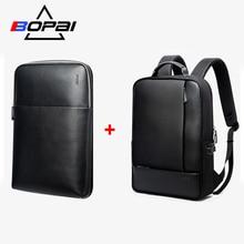 все цены на BOPAI Detachable 2 in 1 Backpack USB External Charge Laptop Backpack Shoulders Anti-theft Backpack  Waterproof Backpack for Men онлайн