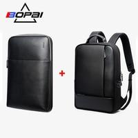 BOPAI Detachable 2 in 1 Backpack USB External Charge Laptop Backpack Shoulders Anti theft Backpack Waterproof Backpack for Men