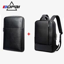 BOPAI mochila desmontable 2 en 1 para portátil, morral para portátil con carga externa USB, mochila antirrobo para hombros, mochila resistente al agua para hombre