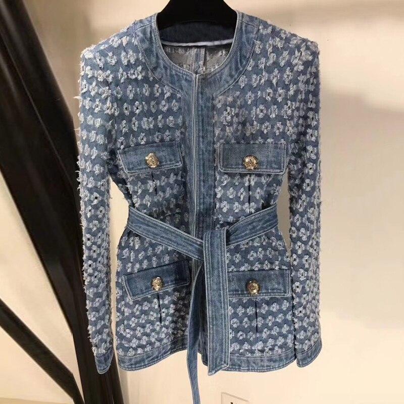 가을 여성 자켓 코트 2019 긴 소매 벨트 찢어진 데님 자켓 패션 여성 자켓 캐주얼-에서베이식 쟈켓부터 여성 의류 의  그룹 1