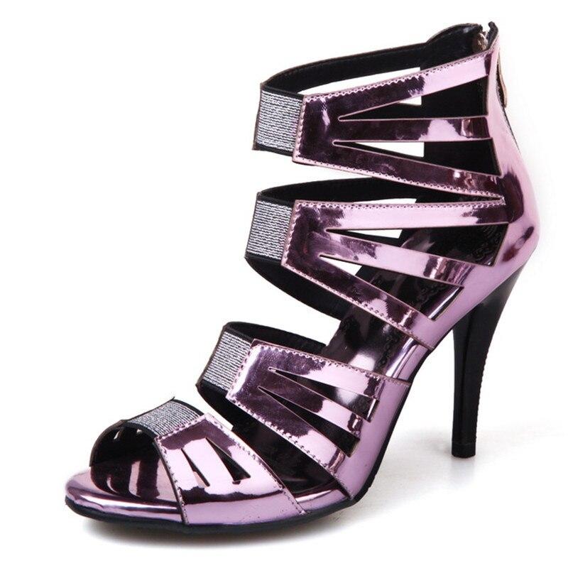 Cm gold pink 33 Cuir Sandales Haute 44 Femmes 2018 Talon 10 silver Verni Black Chaussures Grande En Taille Extrême D'été TRZpUqxT