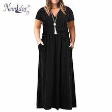 Nemidor Women Vintage เสื้อแขนสั้น V คอชุดลำลองยาว Plus ขนาด 7XL 8XL 9XL พรรค Solid Maxi กับกระเป๋า