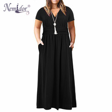 Nemidor المرأة خمر قصيرة الأكمام الخامس الرقبة فستان طويل غير رسمي حجم كبير 7XL 8XL 9XL الصلبة فستان ماكسي حفلة مع جيب