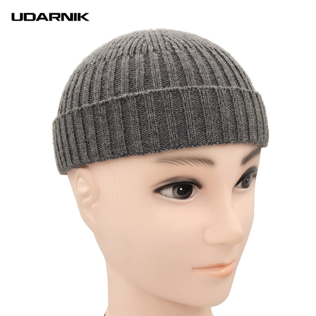 e8c75fdf7b6 Men Knitted Hat Beanie Skullcap Sailor Cap Cuff Brimless Vintage Retro  Fashion Black Grey Navy New 904-896